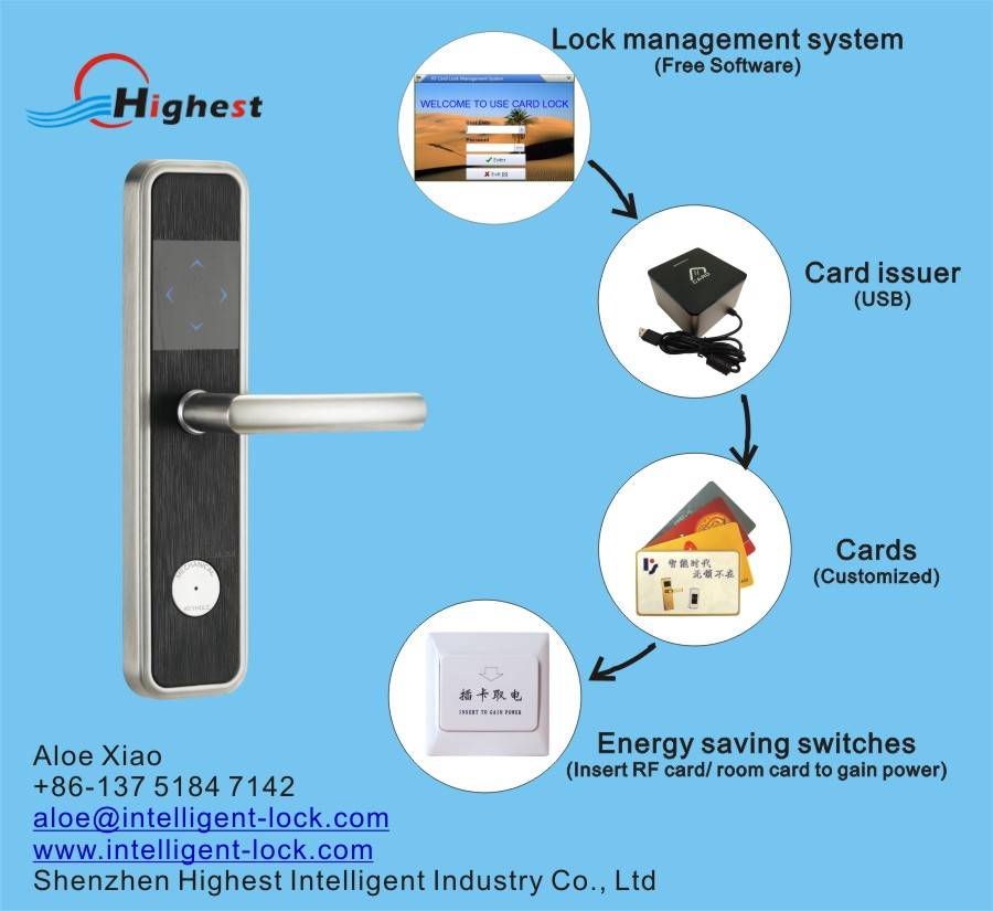 RX2018E-Y Hotel RF Card door lock with complete software management