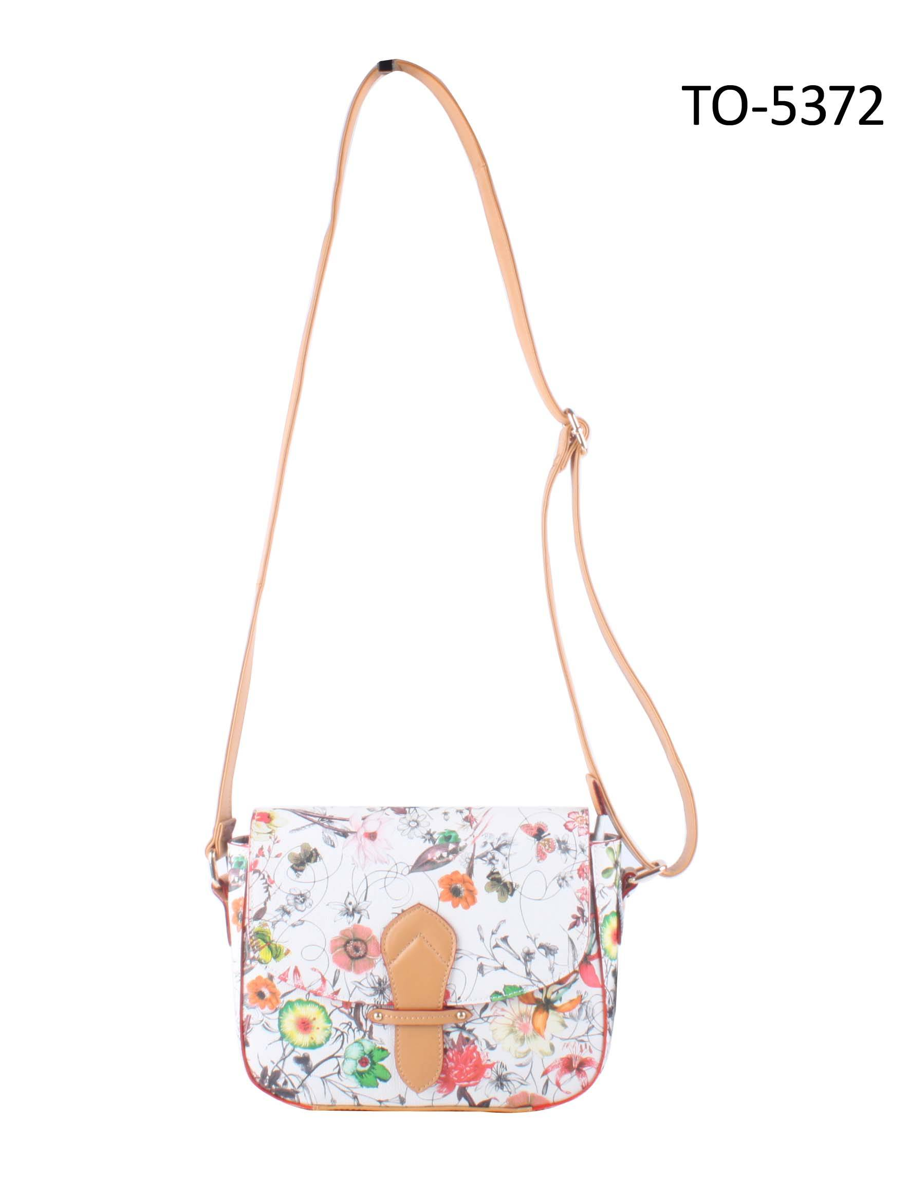 New Design Flower Floral Print Lady PU Cross-body shoulder bag