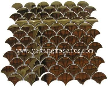 fish scape shape( fan shape) metal mosaic tiles for wall or floor decoration