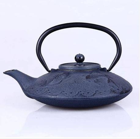 fish cast iron teapot