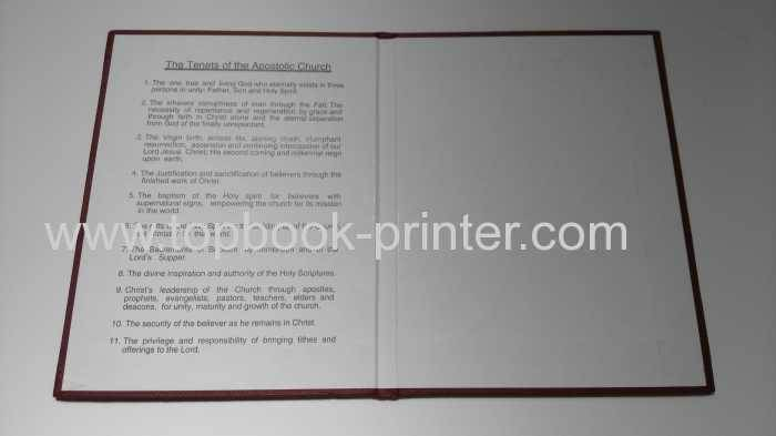 Cloth texture paper cover church hardback certificate printing on demands