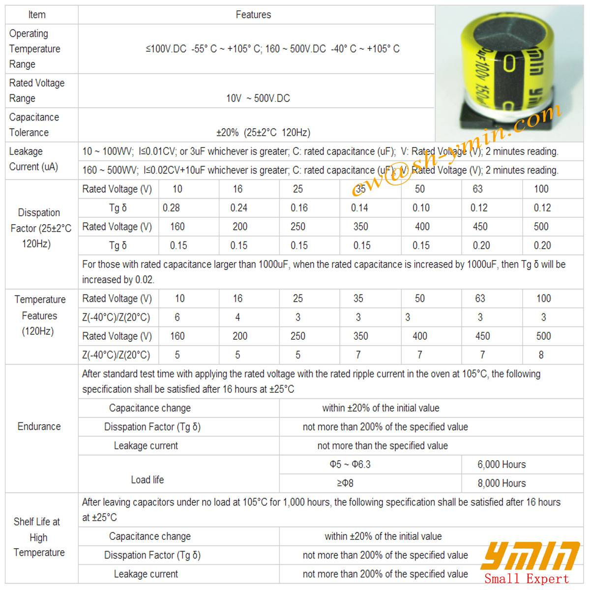Standard SMD Capacitor SMD Aluminum Electrolytic Capacitor for SMT