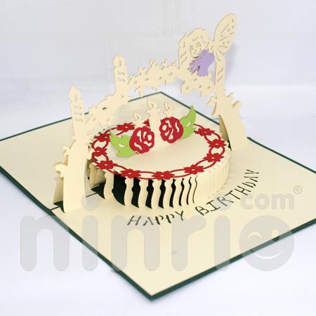 Birthday cake Pop Up Card Handmade Greeting Card