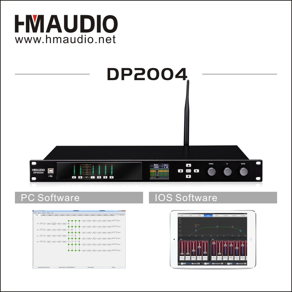 Digital speaker management for small conference room 2 in 4 out model DP2004