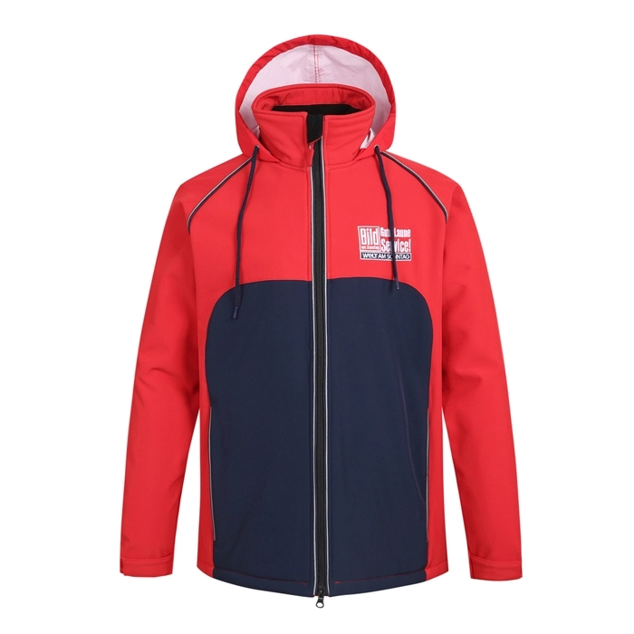 mens high quality waterproof softshell jacket design navy and red men outdoor winter wear
