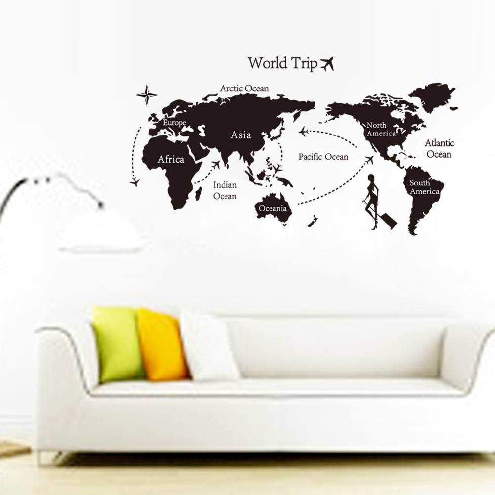 World Trip World wide Map Wall Stickers Decoration Removable Wall Window Sticker DIY Home Decor Wall