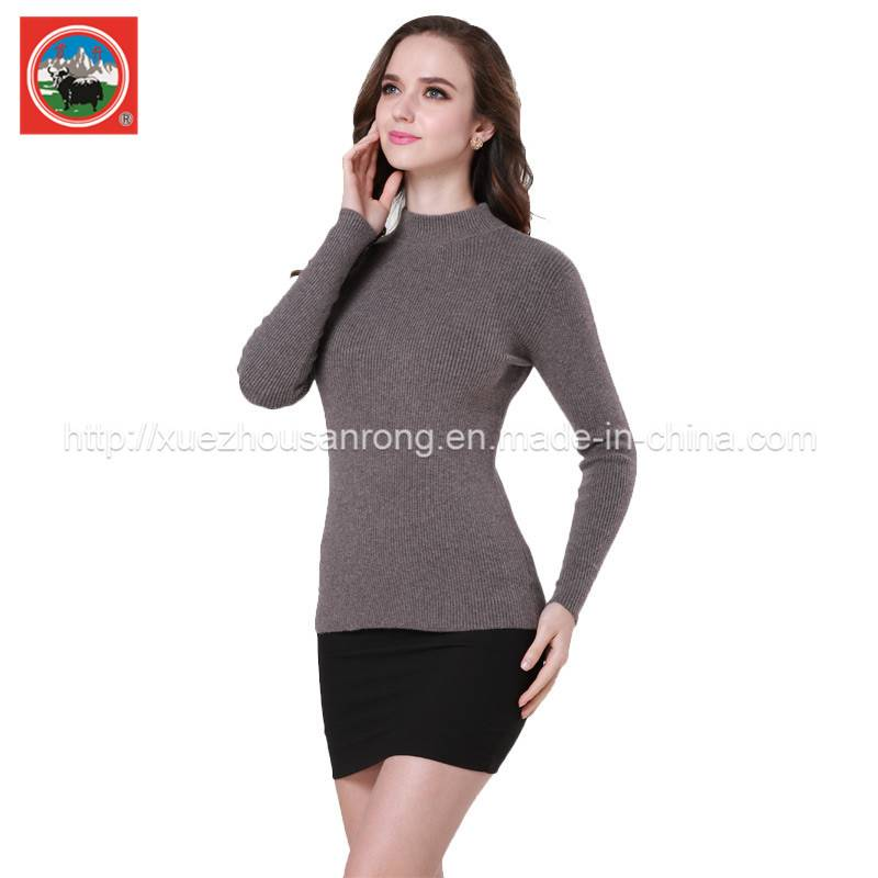 Ladies' yak wool/cashmere knitted pullover/cardigan sweater