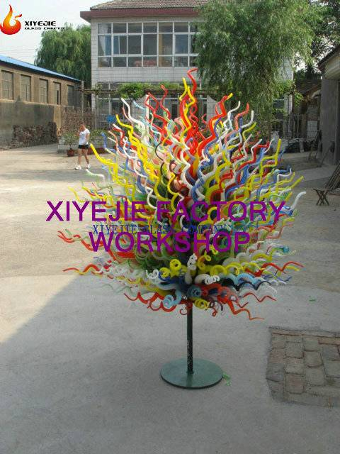 Modern large outdoor garden villa hotel hallway interior hall decorative hand blown chihuly style ha