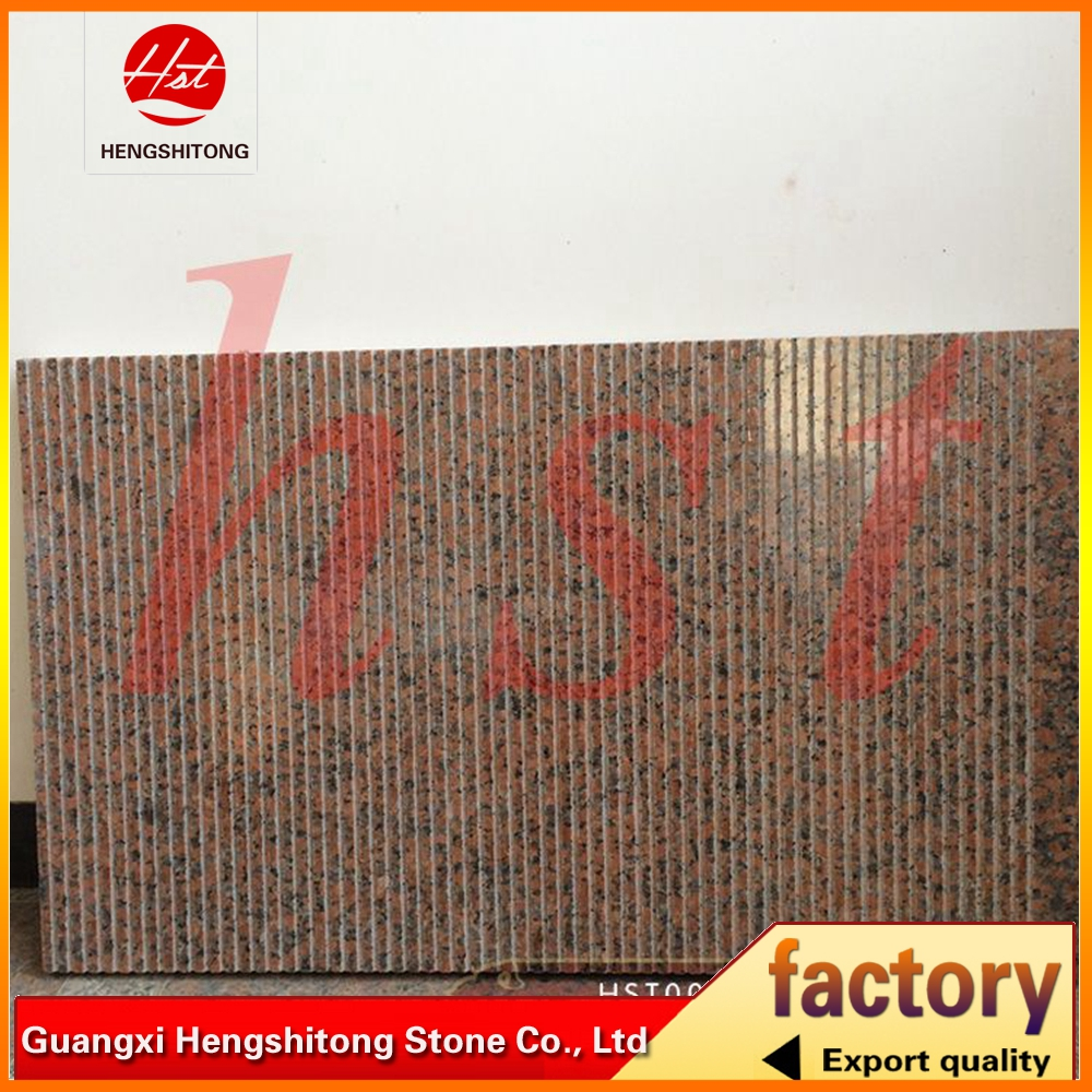 maple red granite slabs with brushed surface for high speed rail station