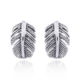Silver Curly Feather stud Earrings