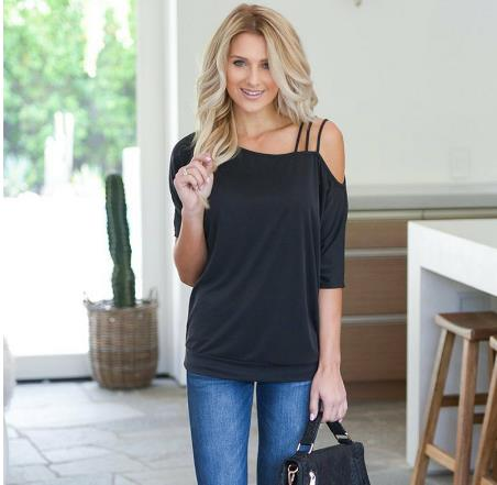 Loose casual short t-shirts for women with one shoulder in sexy cotton Sleeve T-shirt