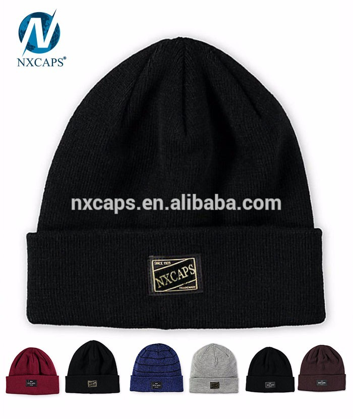 Promotional custom jersey cotton wholesale plain slouch beanie hat with woven label