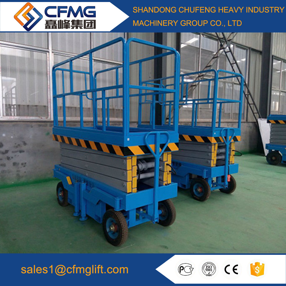 mobile hydraulic scissor lift with fencing