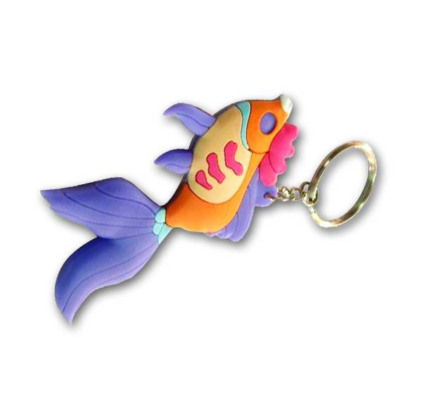 3D design soft PVC Goldfish keychain manufacturer