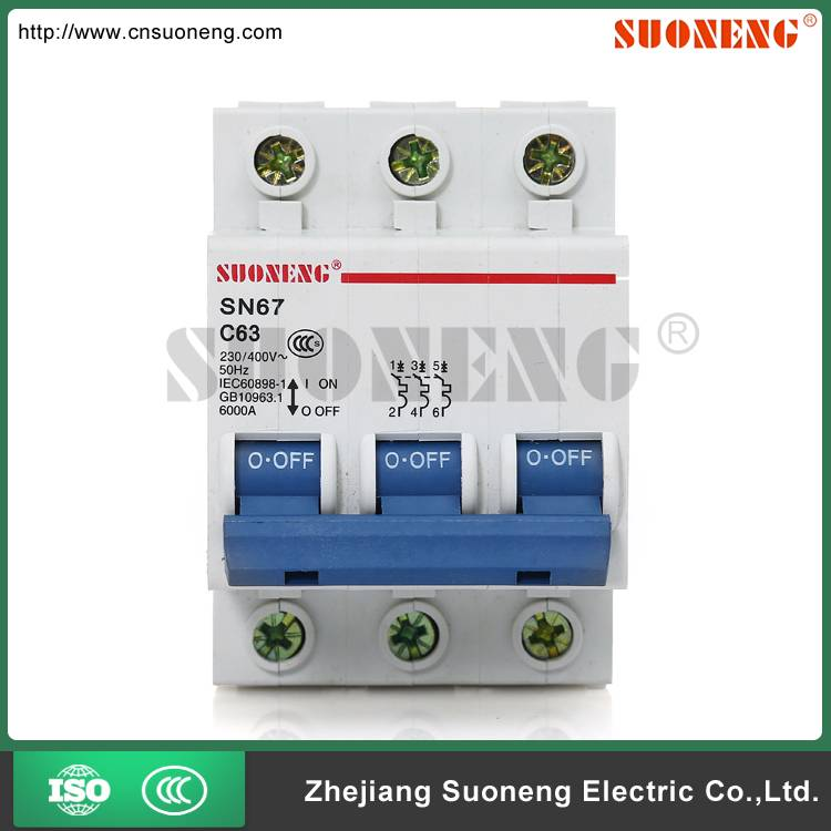 DZ47 ISO9001 40A 3 pole circuit breaker