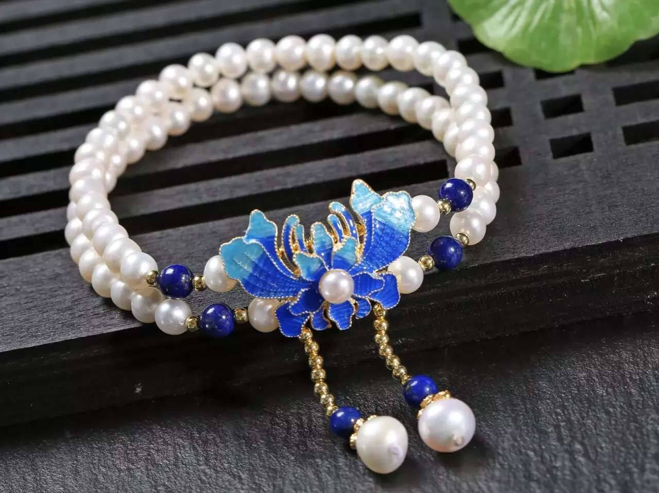 2016 New Arrival NEFFLY 925 Sterling Silver Gorgeous 5mm Fresh Water Pearl lapis lazul Peony Pattern