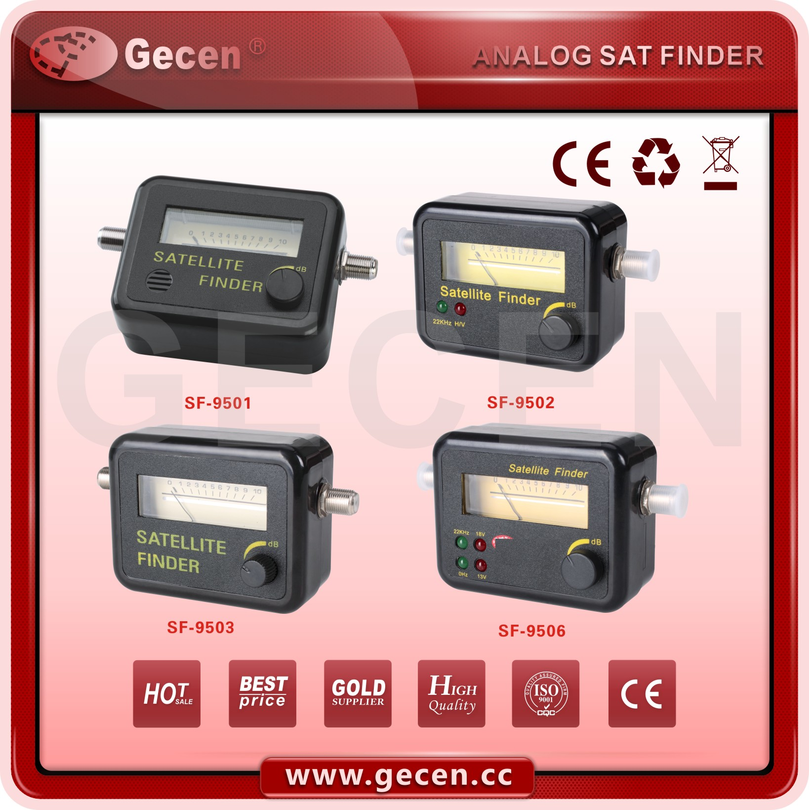 2016 GECEN Satellite Finder 950-2150MHz DC pass to LNB SF-9506