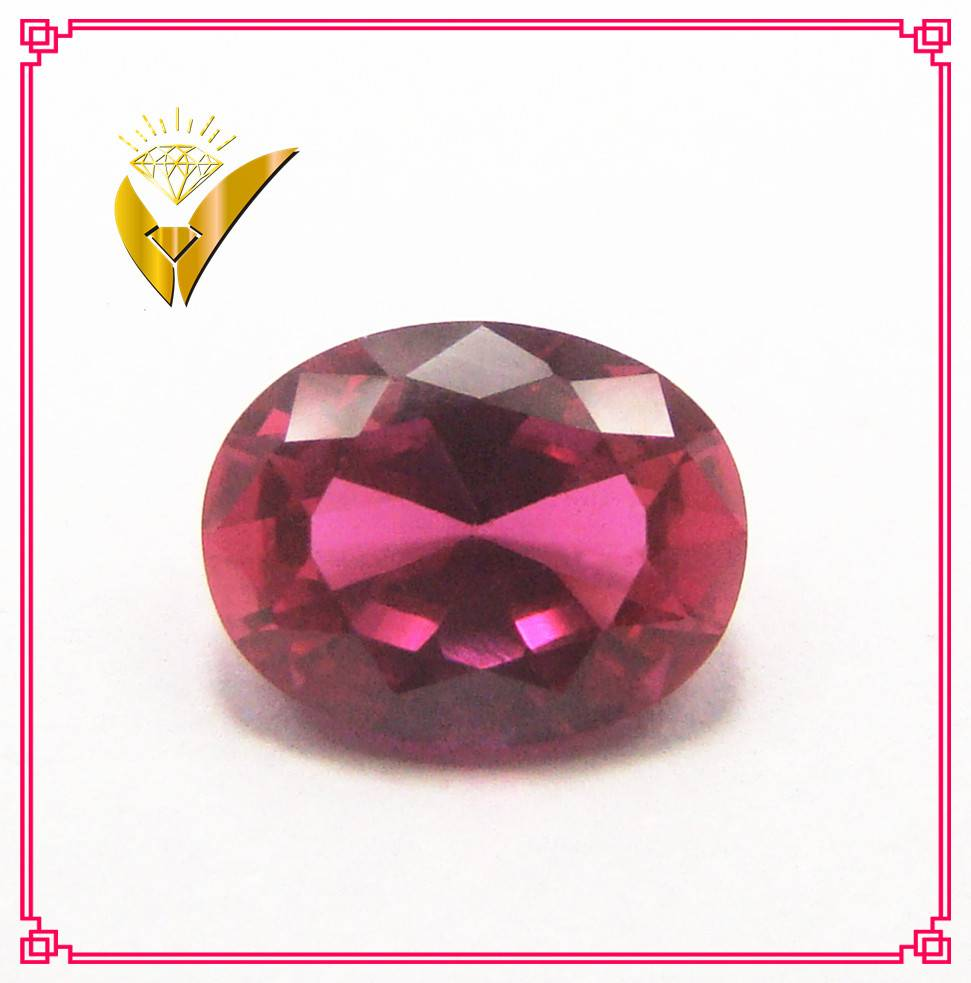 oval cut 5# synthetic ruby red