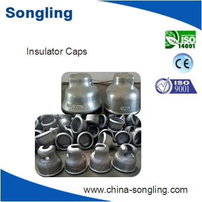 Metal cap for suspended glass insulator