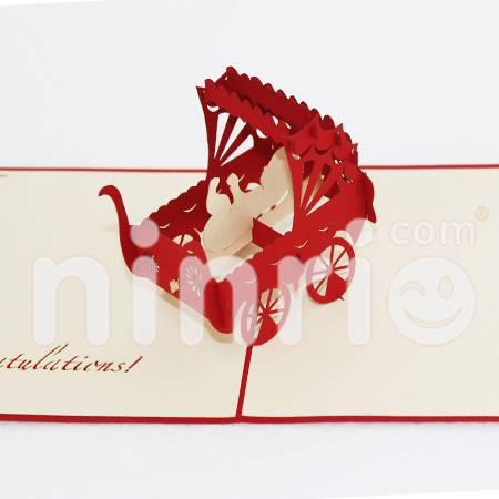Children troylley Pop Up Card Handmade Greeting Card