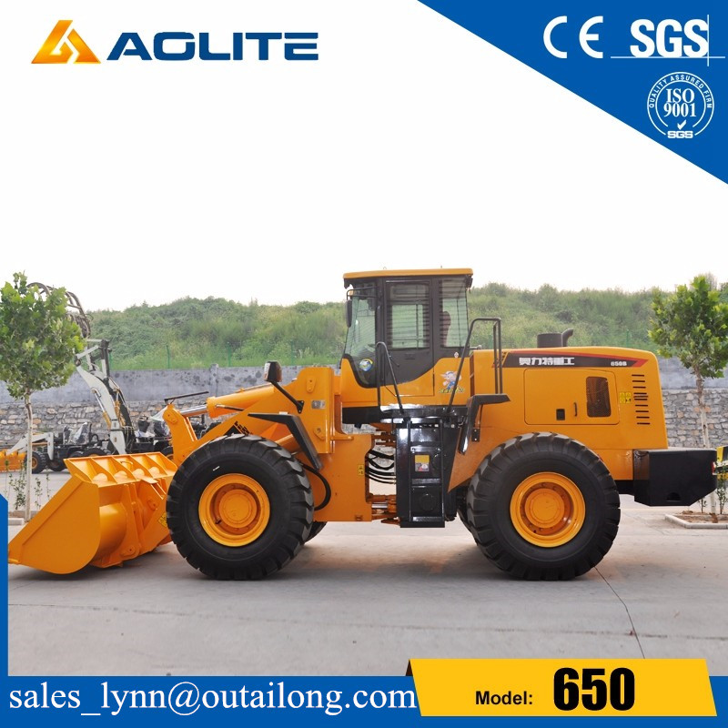 5000kg rated load construction machinery rock bucket wheel loader 650 with ce for sale