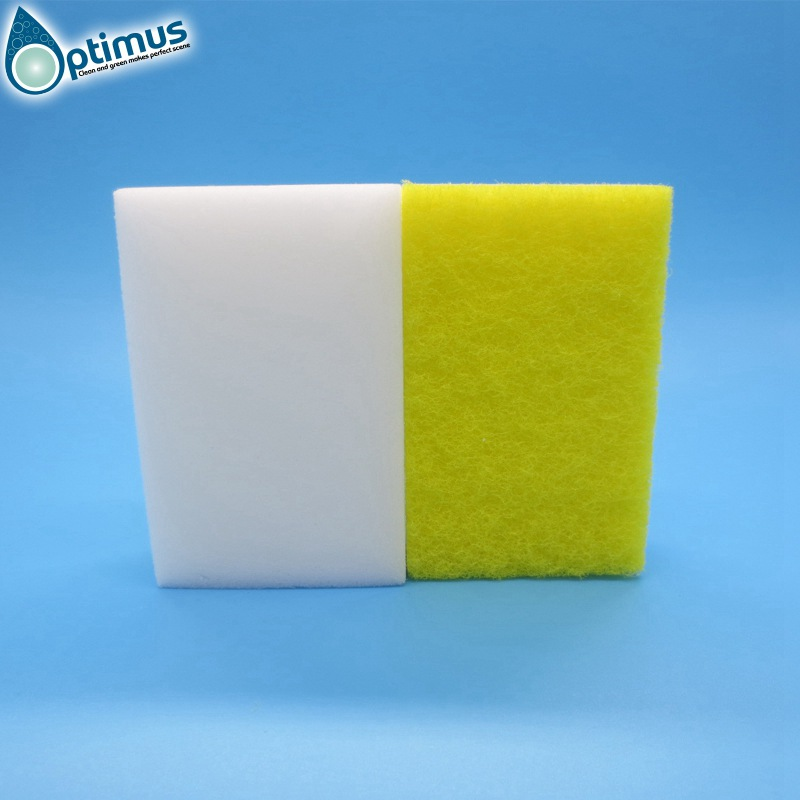 White original melamine sponge with yellow scouring pad for office cleaning