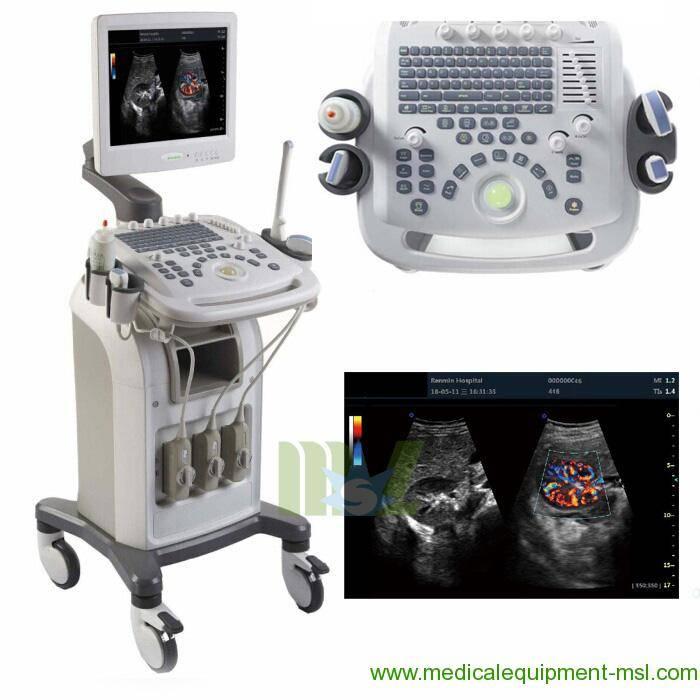 3D Color cardiac ultrasound machine / 4D Color cardiac USG with trolly MSLCU16