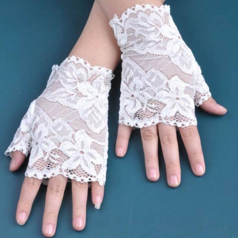 Short Cheap Fingerless White Lace Gloves