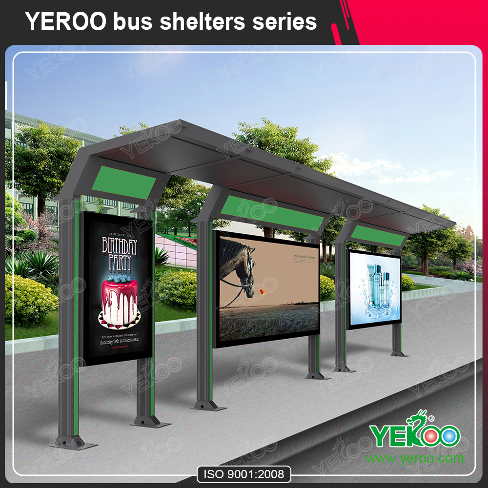 Popular advertising bus stop shelter with light box aluminum profile