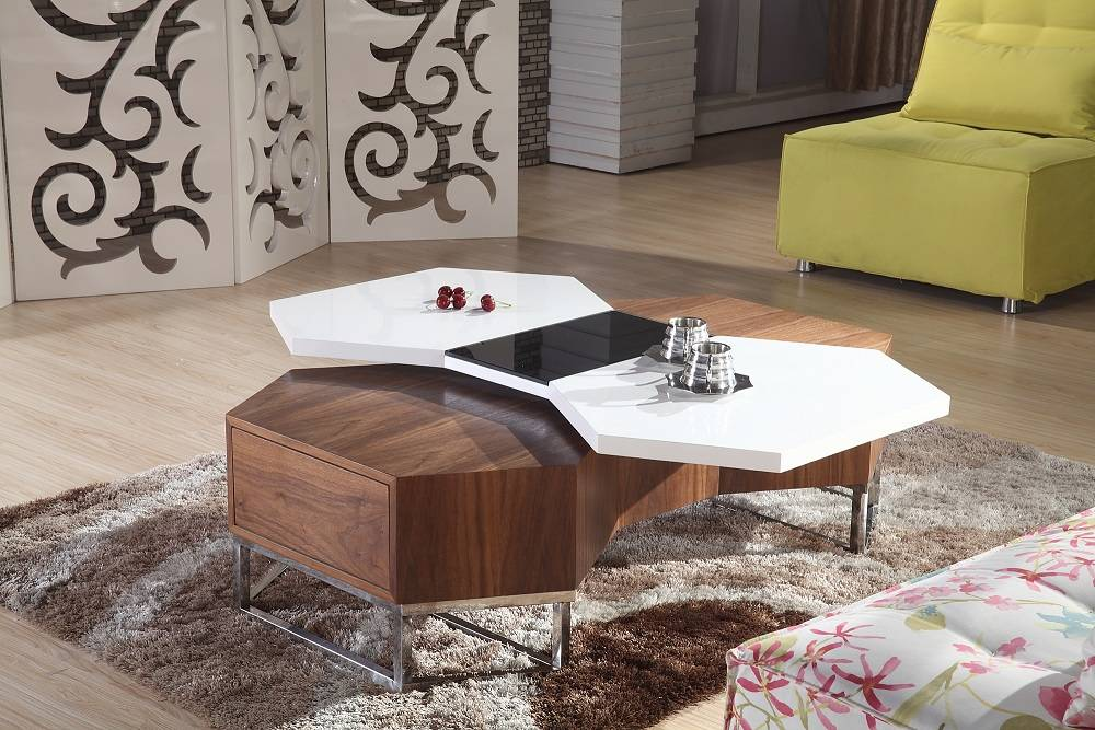 Rotatable wooden coffee table