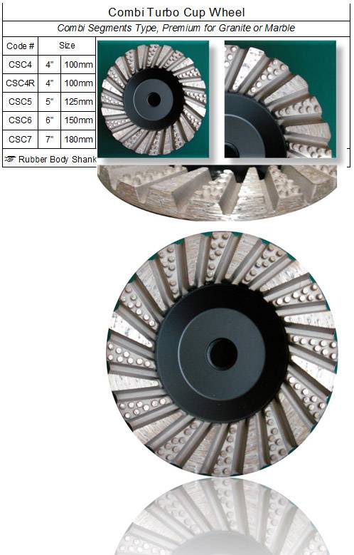 Diamond Combi Segments Grinding Cup Wheel