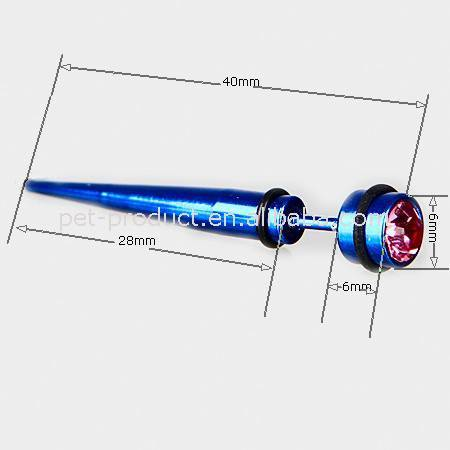 Body piercing jewelry Blue color long linear ear pins with a red rhinestone
