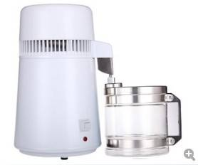 Dental water distiller, white color plastic body with stainless water filter and 4L glass jar