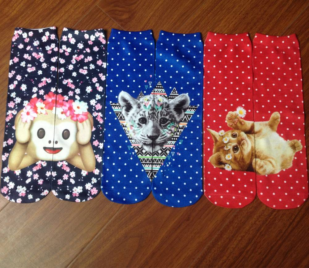 sublimation seam  animal printing sock for girl