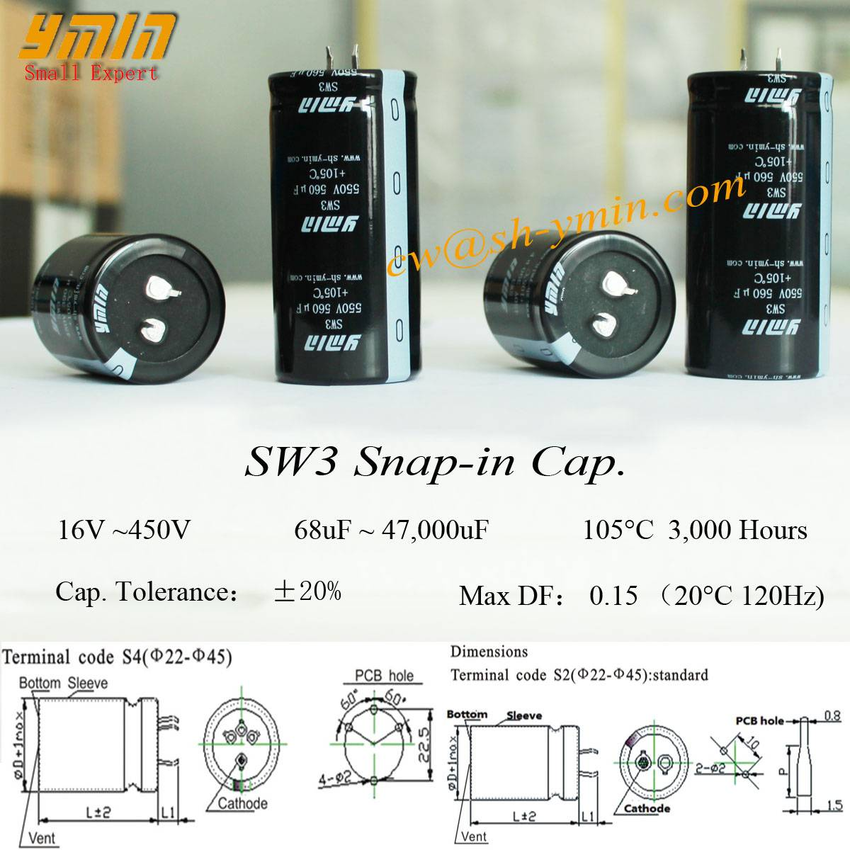 High Temperature Capacitor Snap in Electrolytic Capacitor for Clean Energy Car Charging Post and Cle