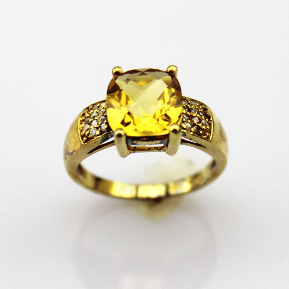18k Yellow Gold Over Silver Cubic Zircona Ring (F24)
