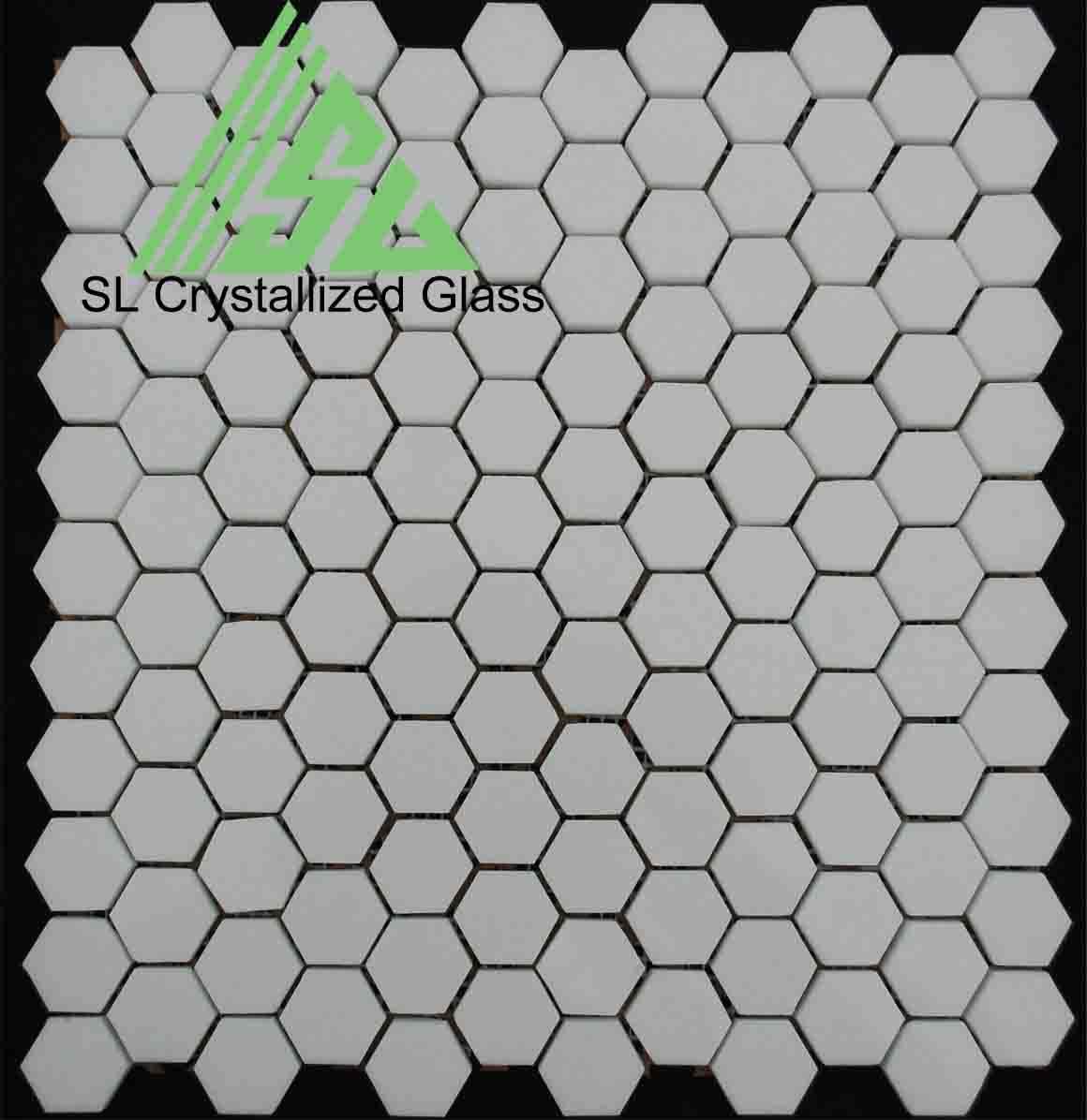 Crystallized glass hexagon mosaic