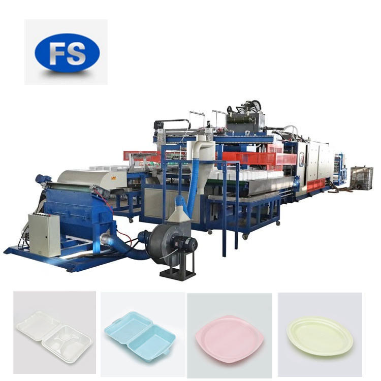 PS Foam Food Container Vacuum Forming Cutting And Stacking Machine with Robot Hands