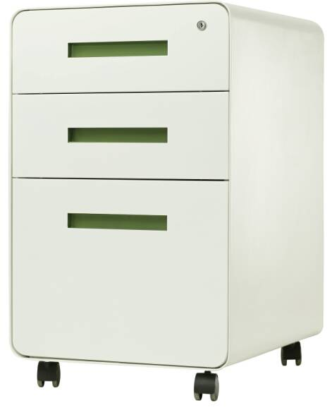 Round Edge Mobile Pedestal Cabinet with 3 Drawers
