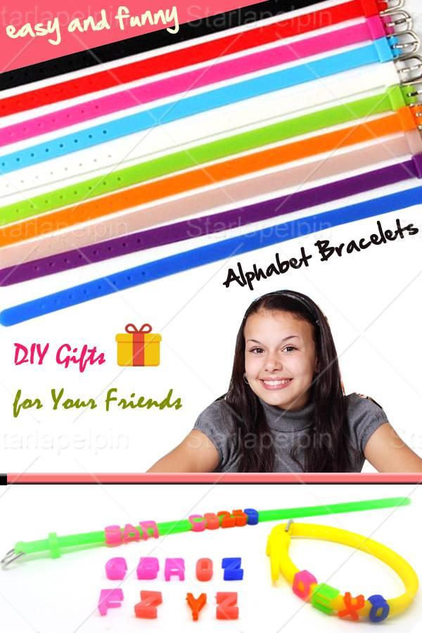DIY Custom Silicone Friendship Name Message Alphabet Bracelet