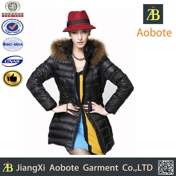 2014 high quality custom outdoor lady slim down coat