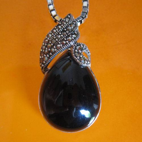 Thai silver black onyx pendant necklace,marcasite pendant,Thai silver jewelry