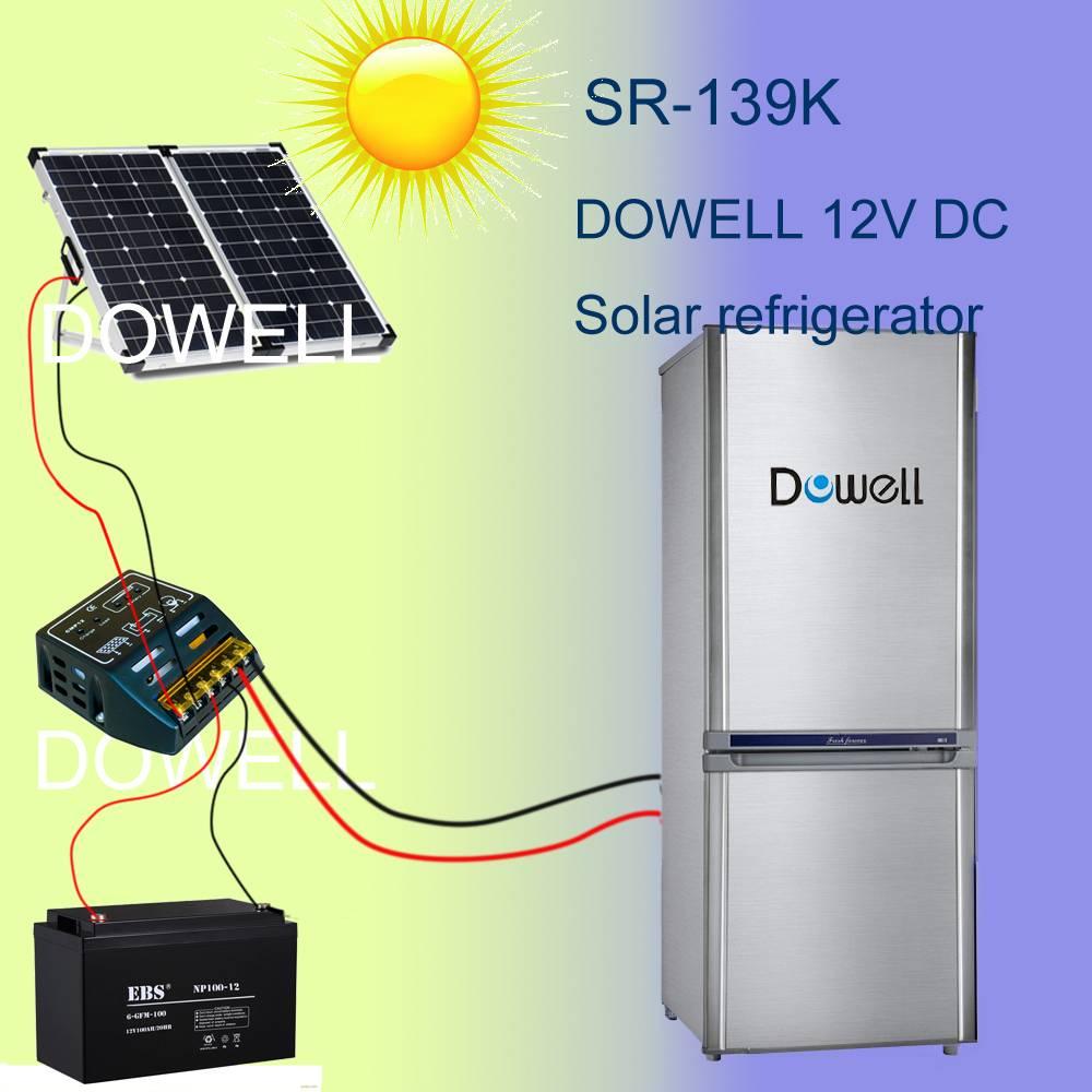 DC fridge 139L with solar power supply