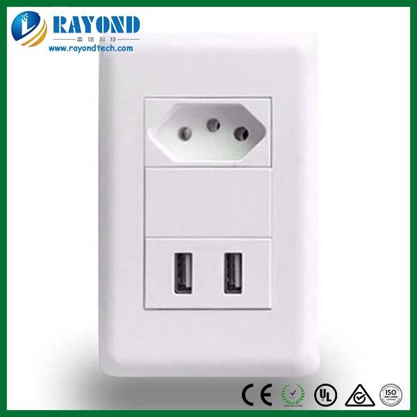 Brazilian Standard 10A/250V 1 Gang Power Outlet with 5V/2.1A Dual USB Charger Wall Socket