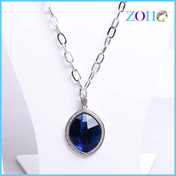 2016 innovative products crystal pendant necklace oval shape fancy wedding necklace