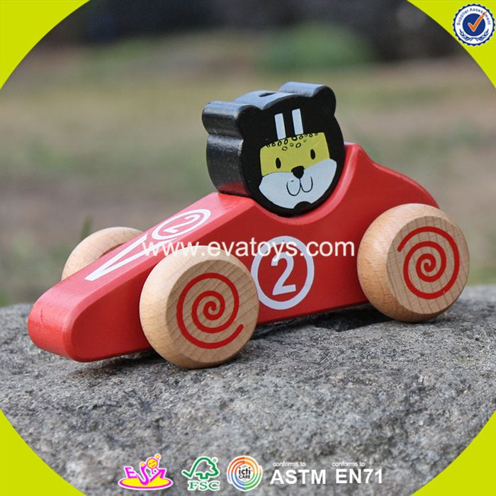 2017 New design kids funny animals wooden toy cars W04A333