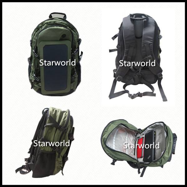 Military Waterproof Backpack Bag Solar Power Battery USB Charger Panel Solar Backpack