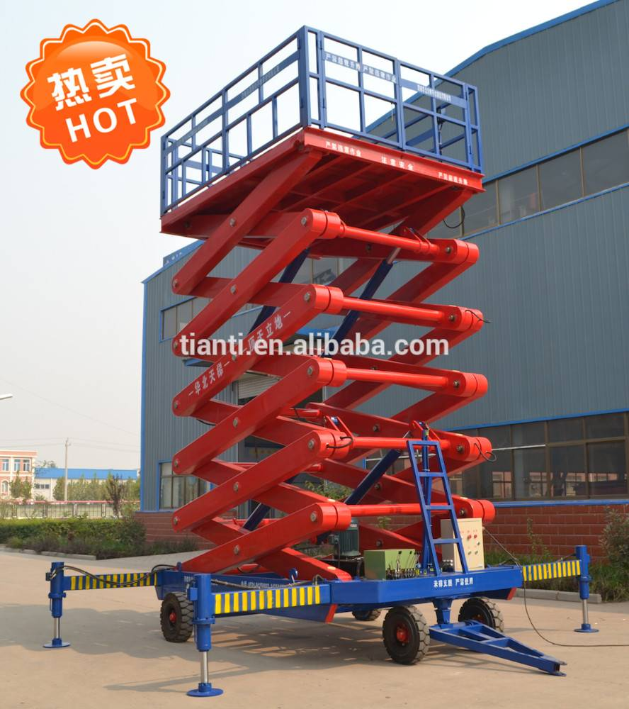 hot sale four wheel mobile scissor lift platform