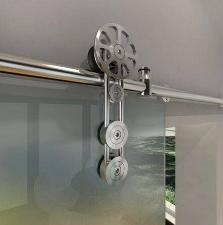 Modern style stainless steel glass sliding barn door hardware