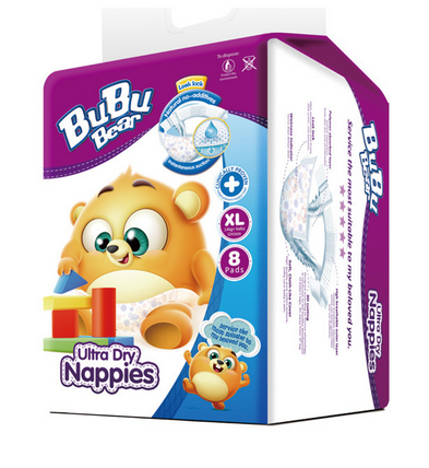 Ultra Dry Nappies 8pads XL 15kg+ Baby Unisex BUBUBEAR